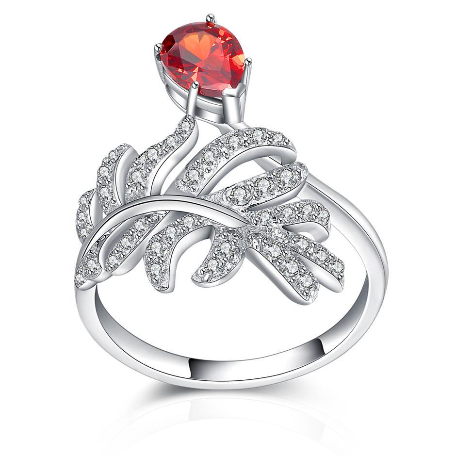 White Gold Plated Leaf Shaped Adjustable Ring, Wedding Ring Set Halo
