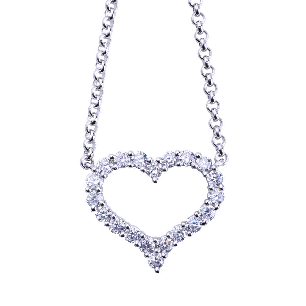 Fashionable Girly Love Chain Heart Necklace 925 Sterling Silver Jewelry