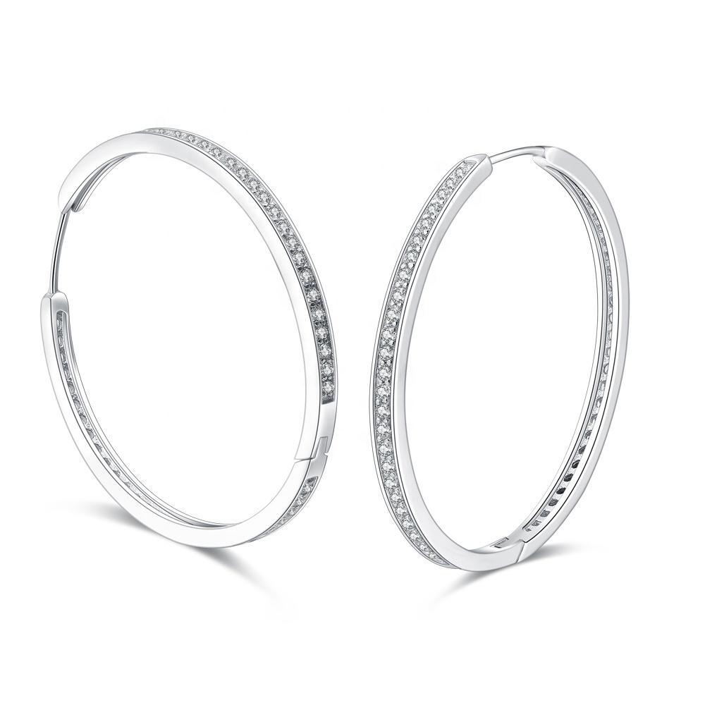 Big Hoop Earring Women, Pave Cubic Zircon Large Silver 925 Hoop Earrings