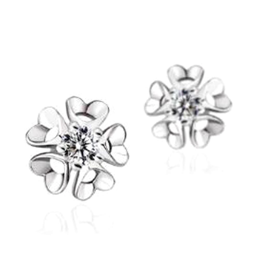 Cute 925 Silver Cubic Zirconia Snowflake Earrings Stud For Girls