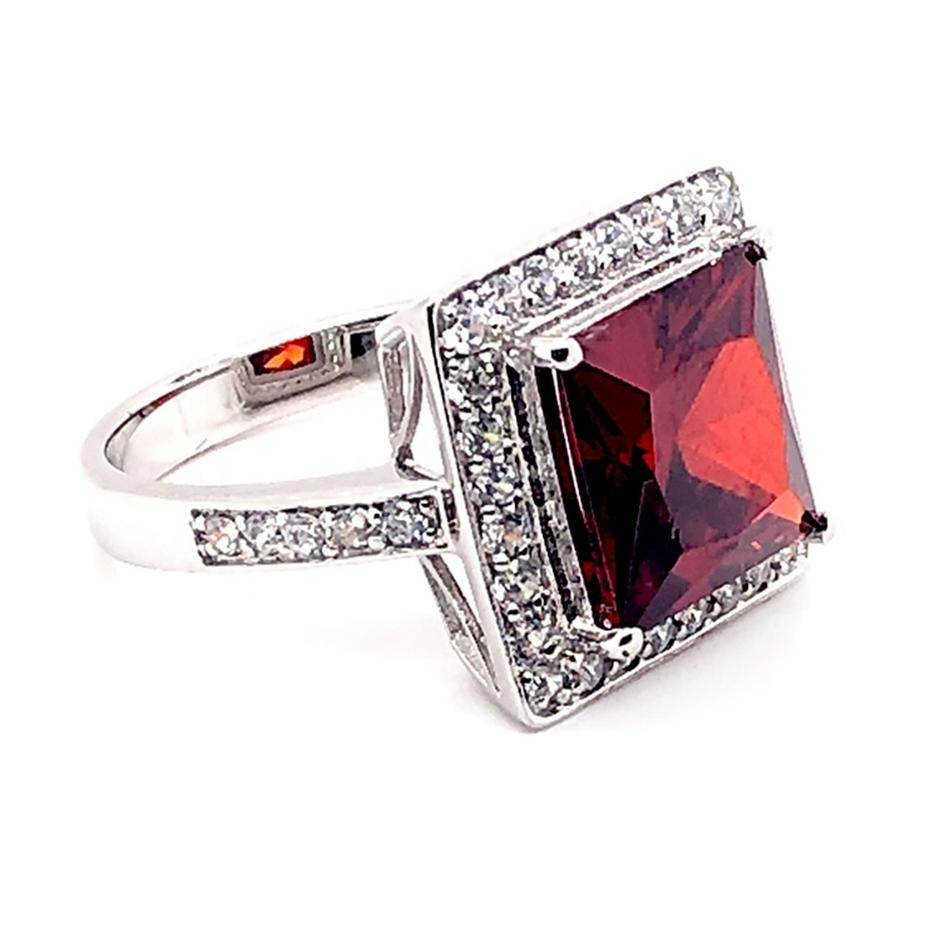 Pave Setting Cz Silver Natural Genius Red Topaz Ring For Men