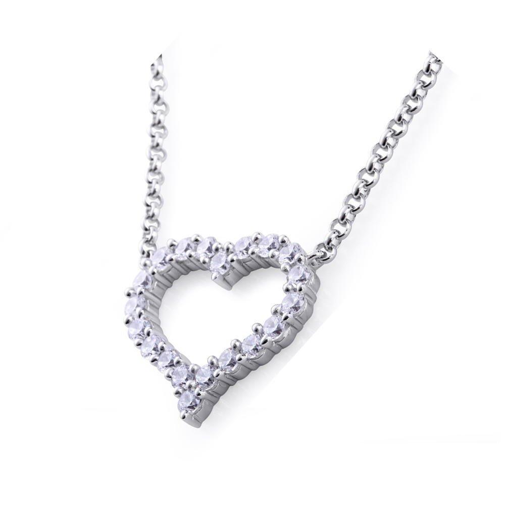 Custom Hollow Design Long Chain Mom Heart Necklace Silver 925