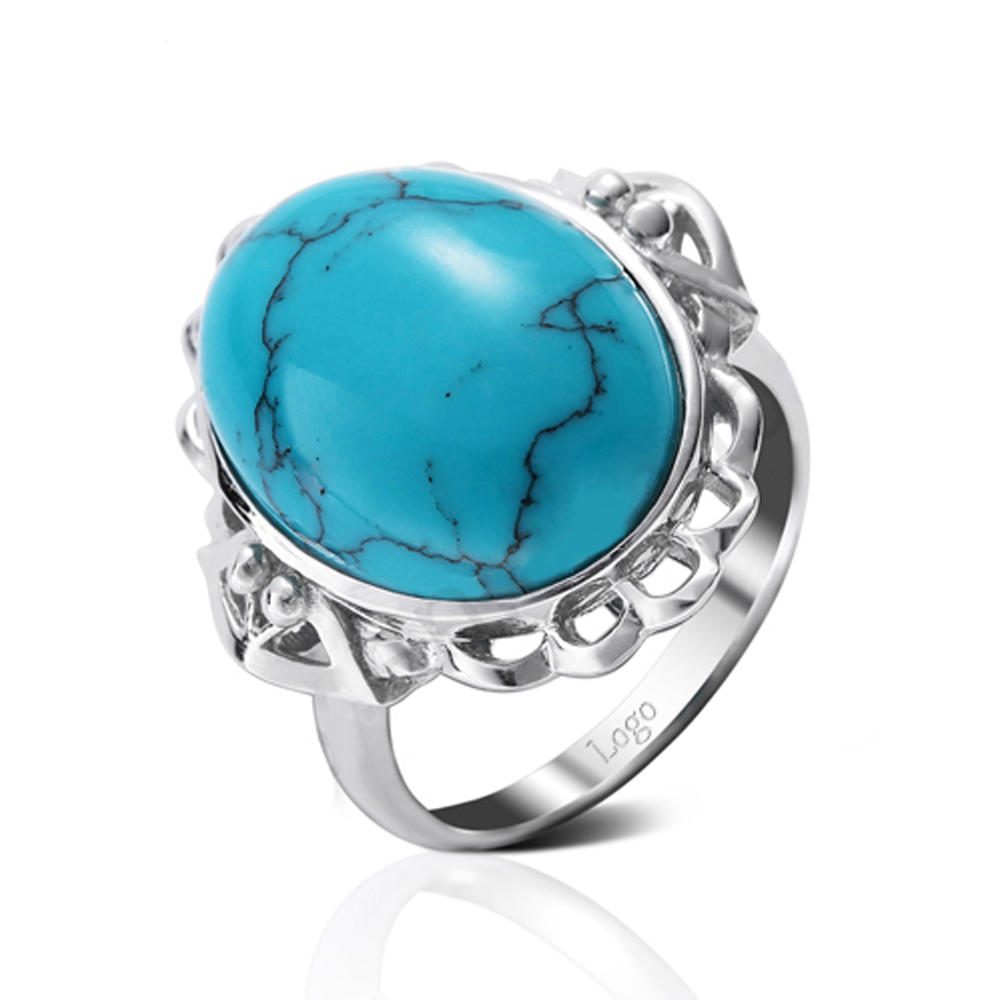 High Quality Silver Blue Stone Finger Ring Designs For Girls