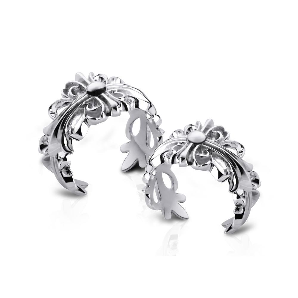 Couple 925 Sterling Silver Flower Design Adjustable Ring Vintage