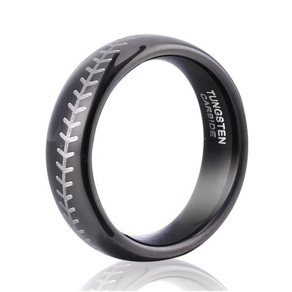 Custom Black Or Blue Baseball Ring, Inscribed Oem Tungsten Steel Ring