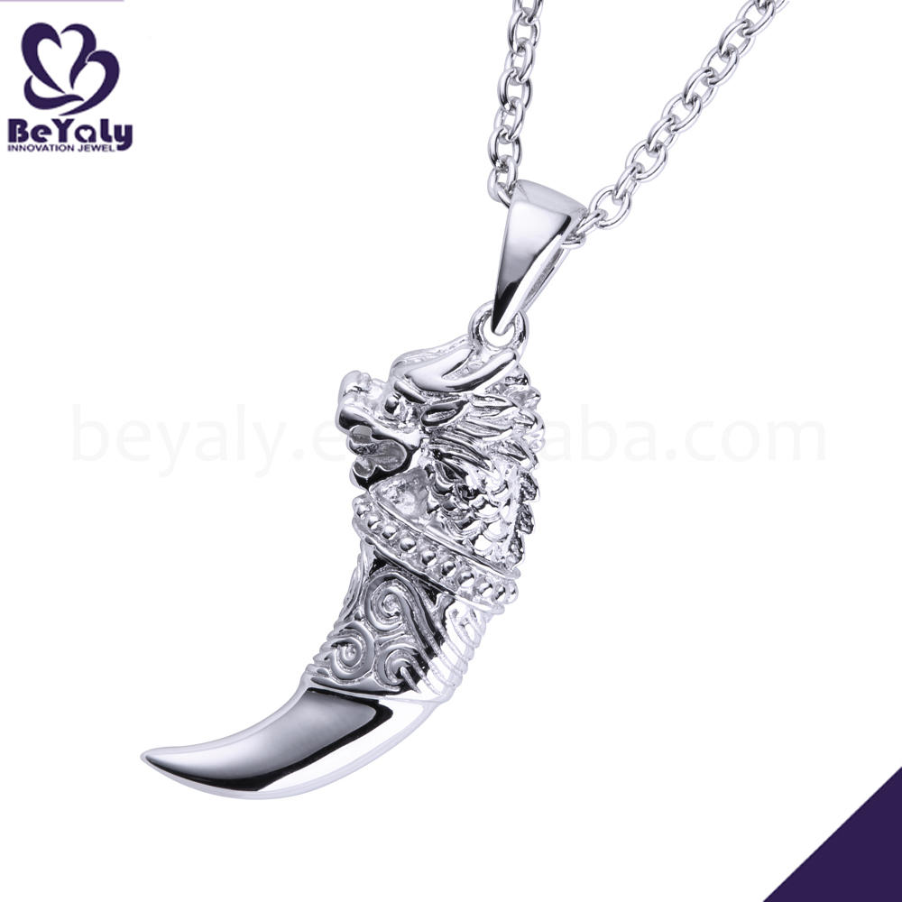 Neo-Gothic Style Silver Embossment Lion Engraved Tooth Shape Necklace