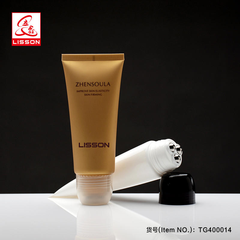 60g empty custom cosmetic massage tube packaging with roller ball for Bust Serum