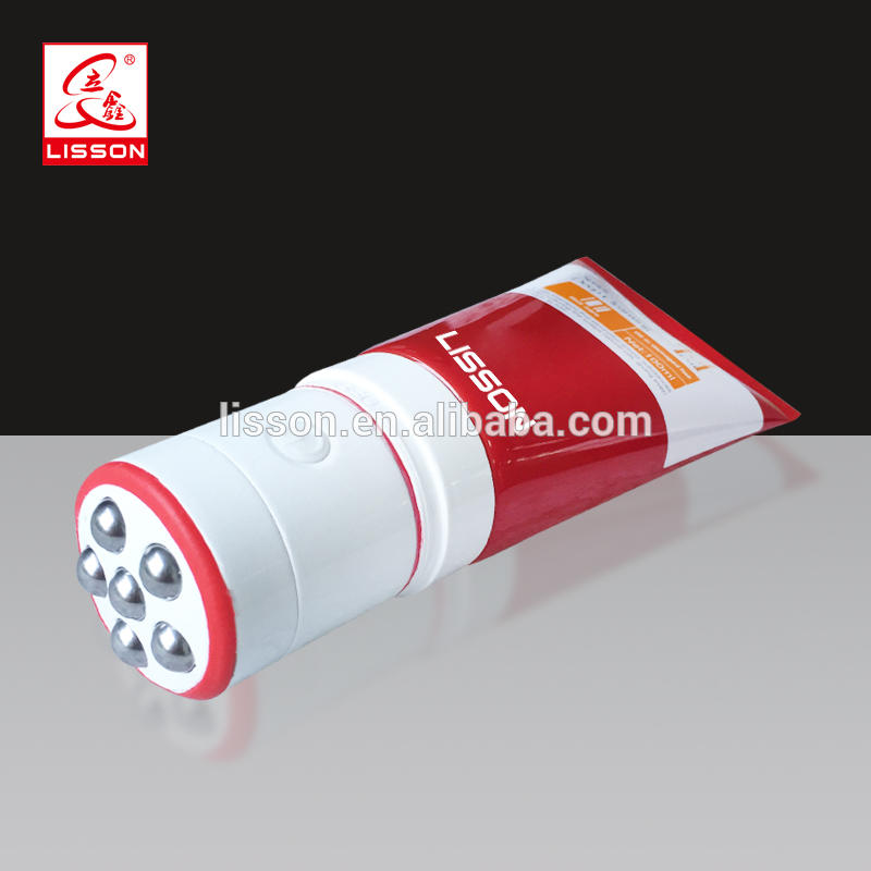 Cosmetic Body Lotion Plastic Tube With Stainless Massage Roller