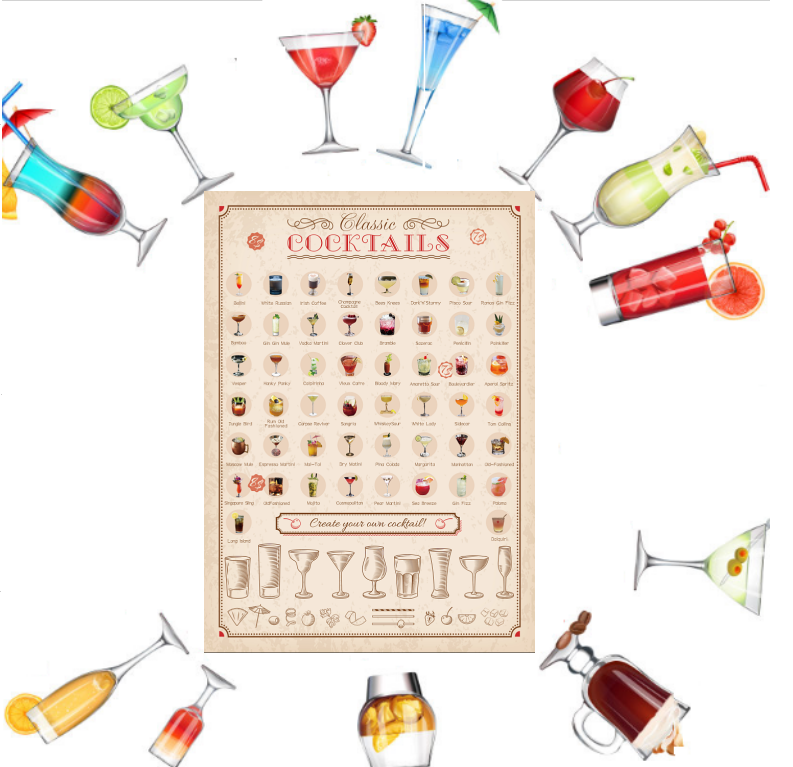 Scratch OffPoster Cocktailfor Amazon with custom logo,New 50 Scratch Off Book Bucket list