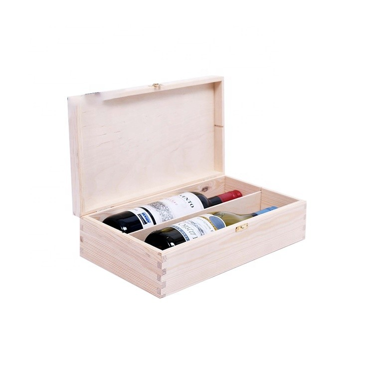 Customized unfinished 2 bottle pine wooden wine box for sale