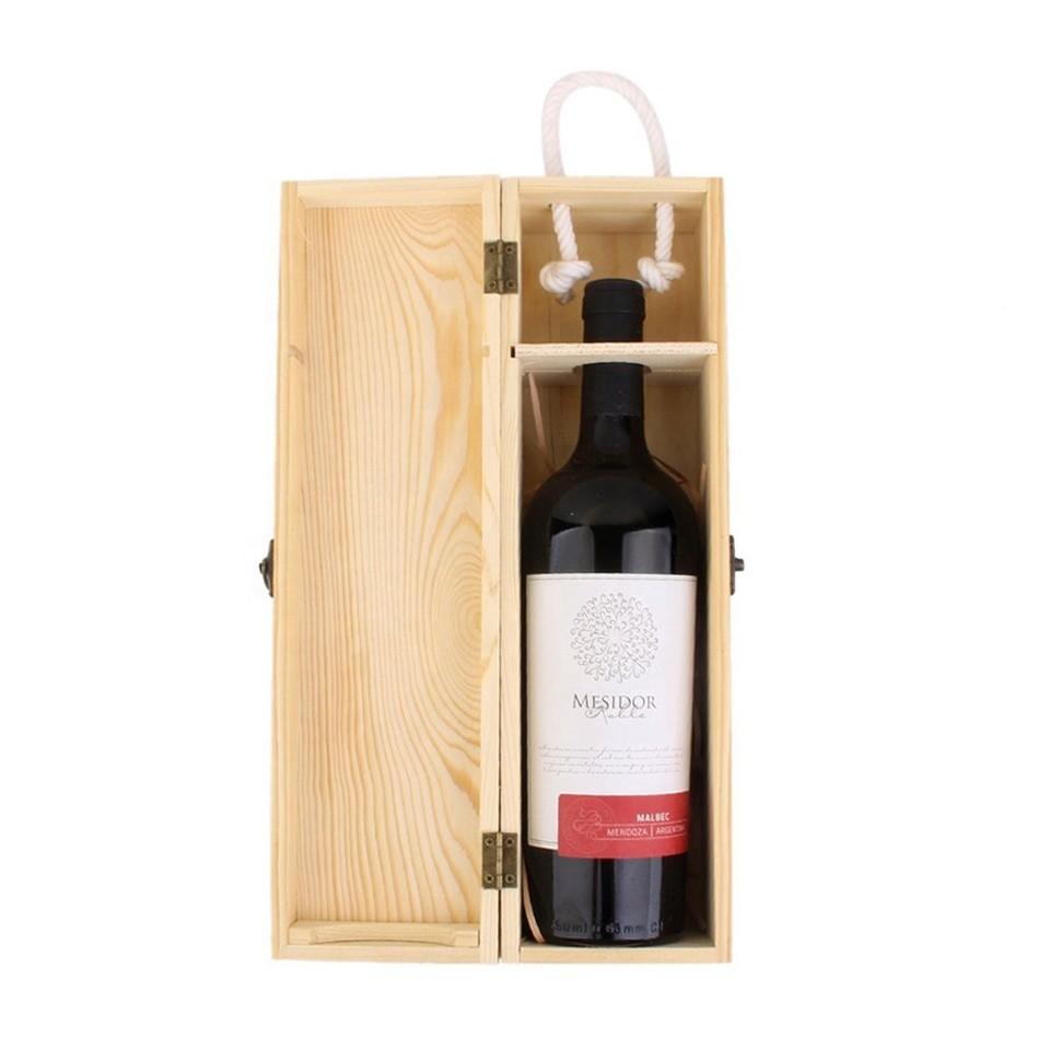 Hot sale unfinished pine cheap empty wooden wine box