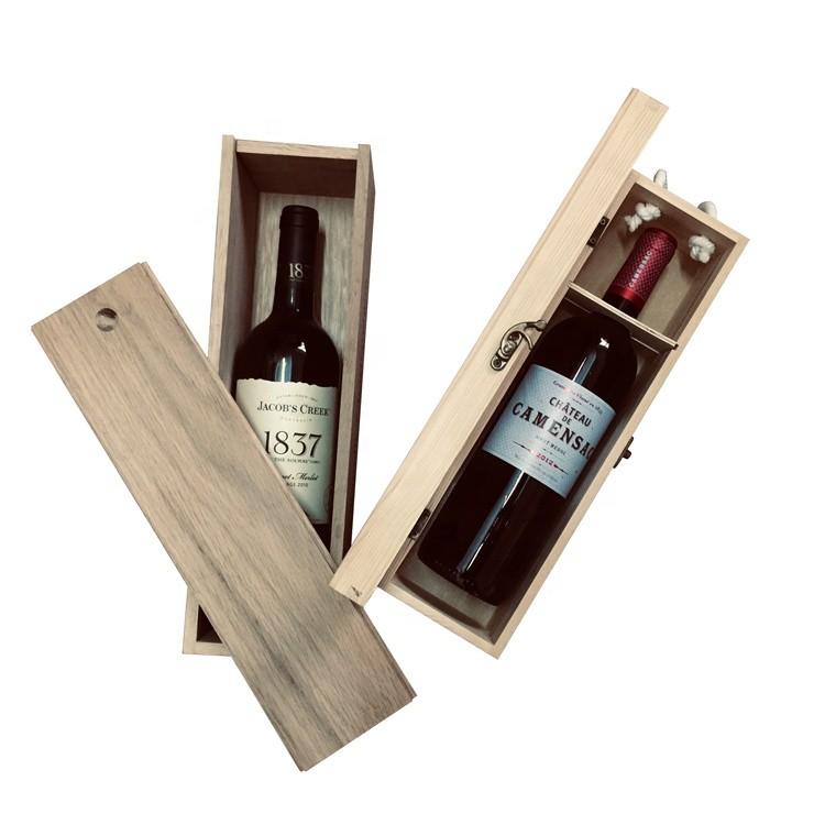 Chinese supplier one bottle 750ml pine luxury wine box pine wood wine box