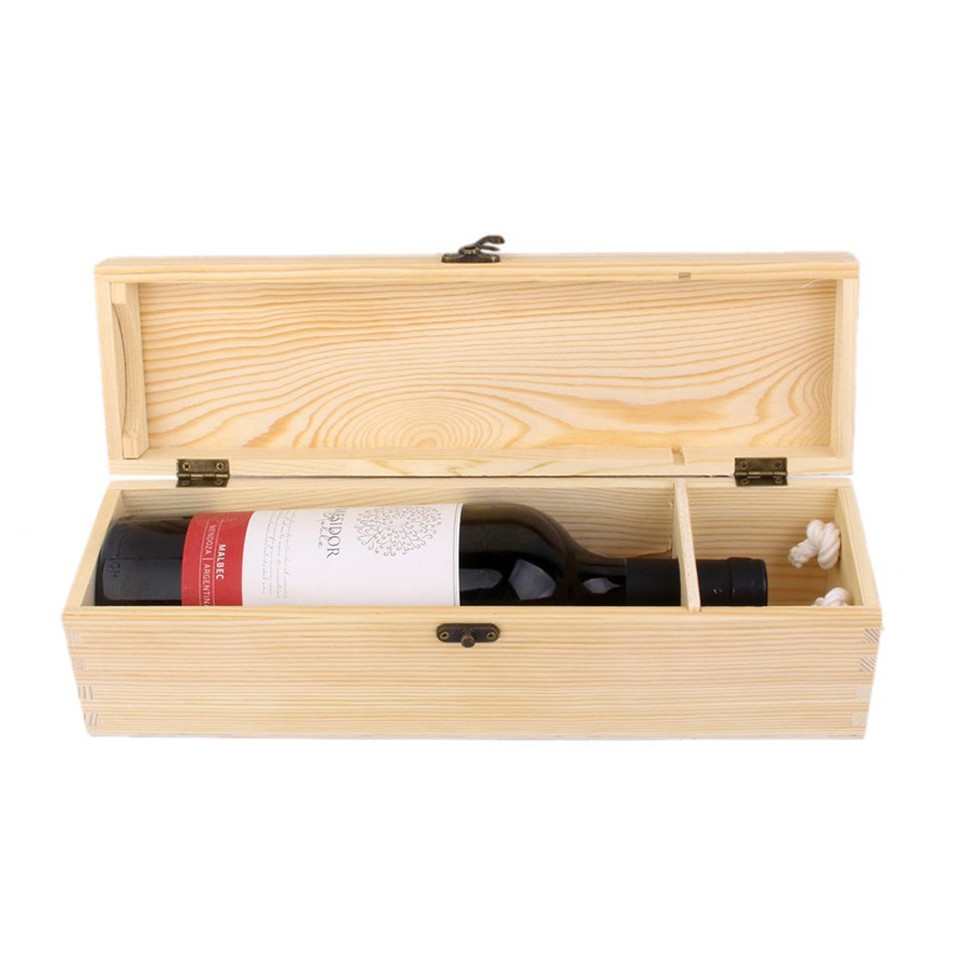 Wholesale small moq quality single bottle unfinished pine wooden wine box