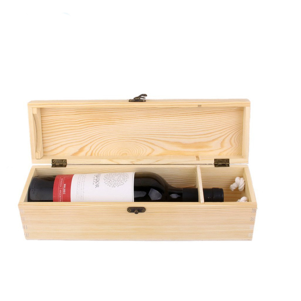 Simple and useful Low price single bottle wooden wine box