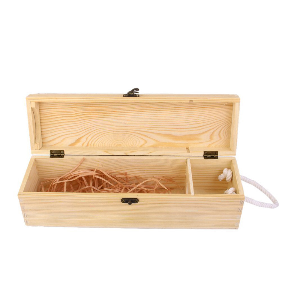 New design simple useful750ml one bottle pine wooden wine box