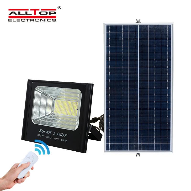 ALLTOP Intelligent 50w 100w 150w 200w Outdoor IP65 Waterproof Sensor LED Solar Flood Light