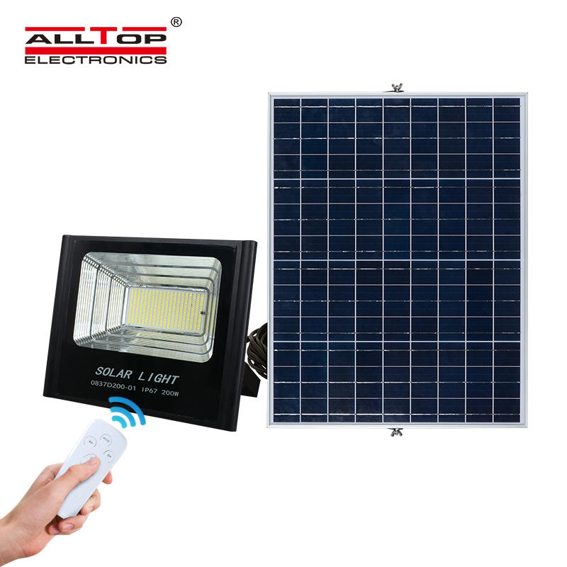 ALLTOP Good Quality Customize Aluminium Outdoor Ip65 dimmable 50w 100w 150w 200w Led Solar Flood Light