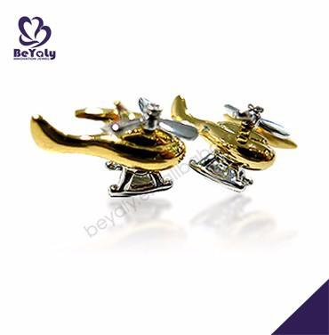 Excellent gold color helicopter cufflink and tie pin set