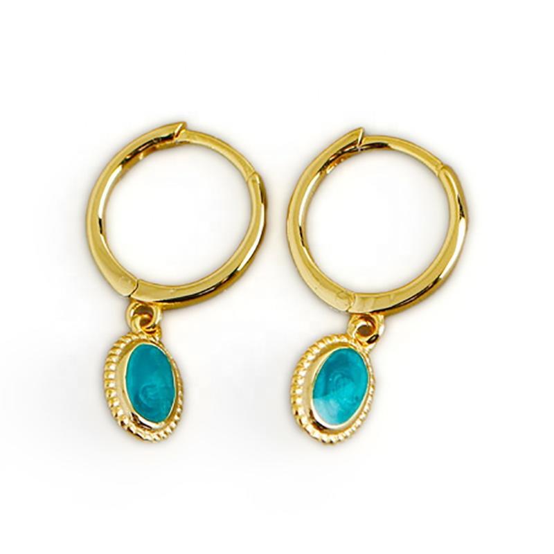 Starry Sky Green Enamel S925 Earrings, Gold Plated Jewelry Buckle Earrings Custom