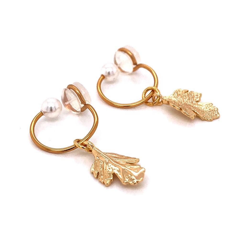 Ladies Vintage Copper Gold Plated Pearl Leaf Earrings Bohemian Jewelry