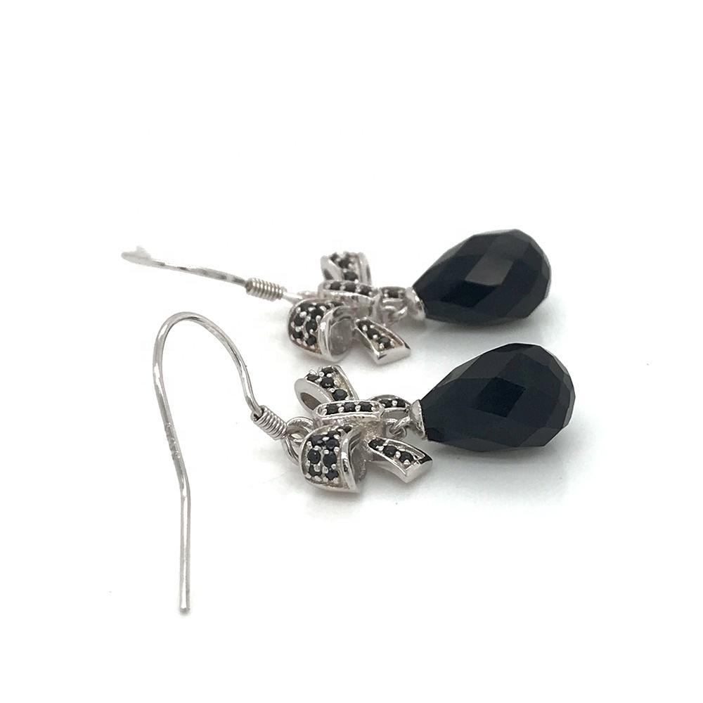 Black Water Drop Stone Bowknot Silver Earrings For Women