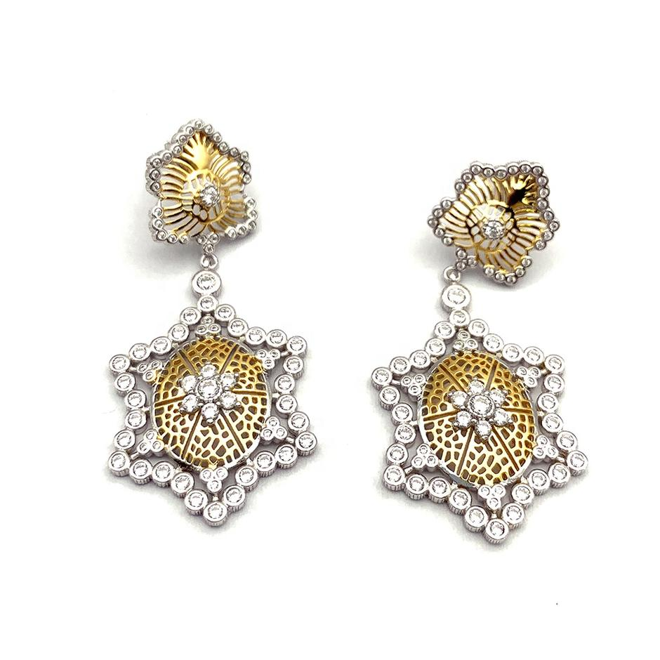 Silver And Gold Flower Design Turtle Pendant Earrings Bohemia Style
