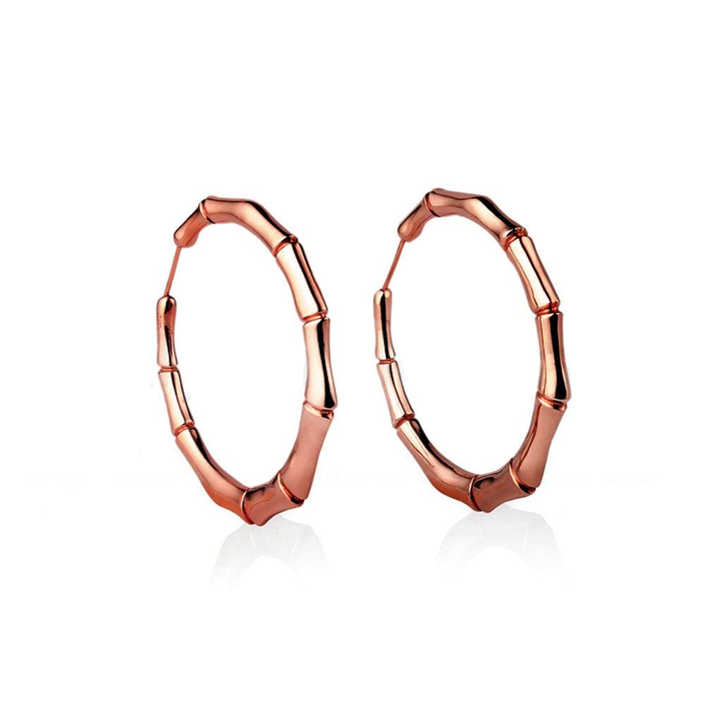 Shiny silver hoop cheap bamboo earrings