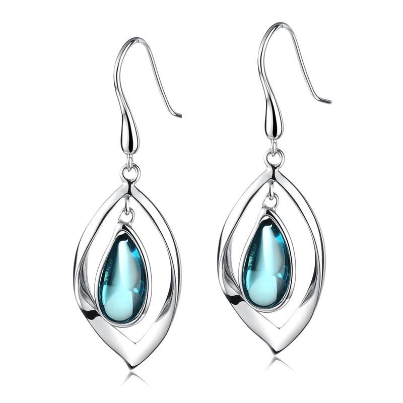 Fashion Custom Design Silver Crystal Stone Eye Earrings Drop For Women