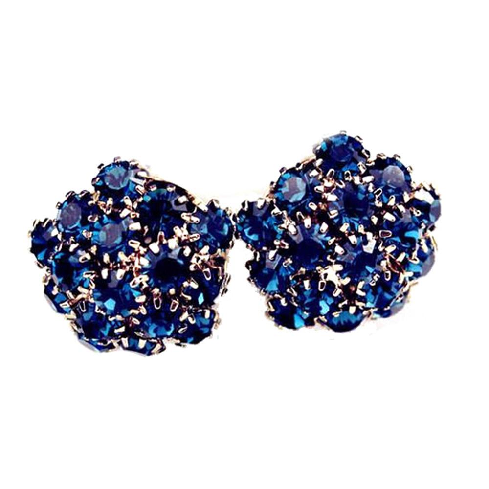 Multi blue stone flower silver ladies earrings