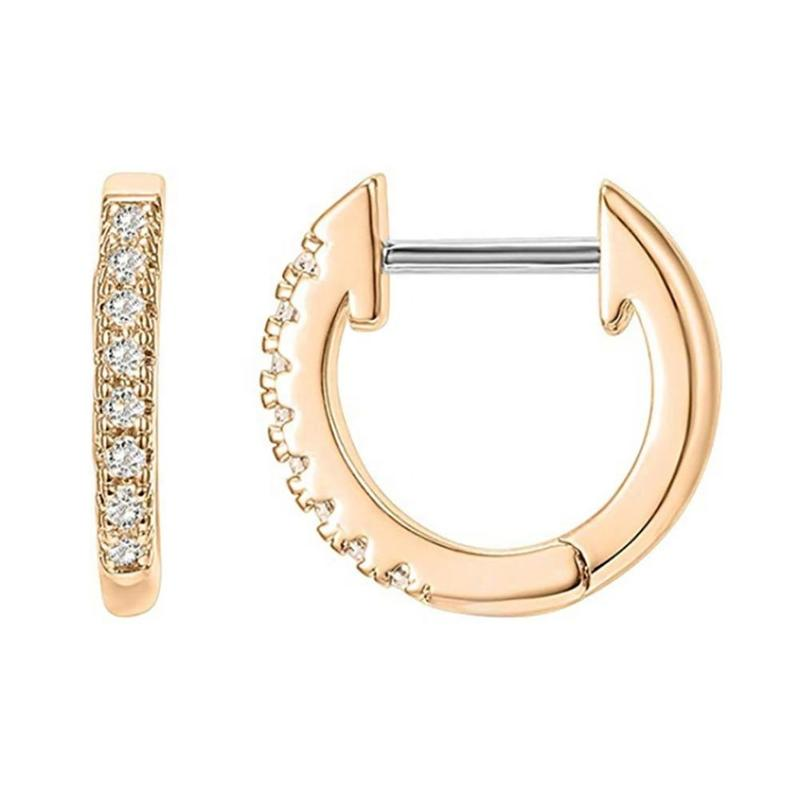 Small Size 14K Gold Plated Crystal Quartz Cuff Earrings Huggie Stud