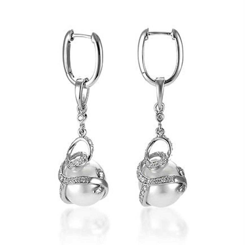 Fantastic Rhodium Plating 925 Silver Cultured Pearl Earrings