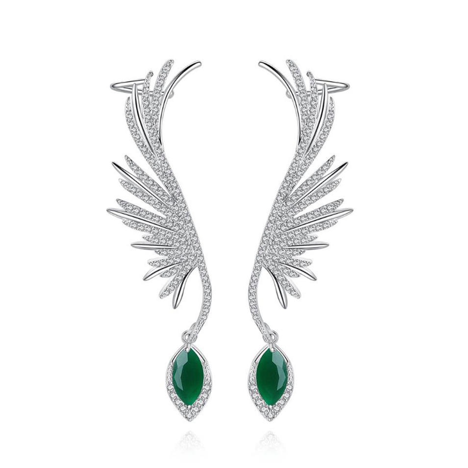 Charming Gemstone Waterdrop Feather Colombian Earings For Women