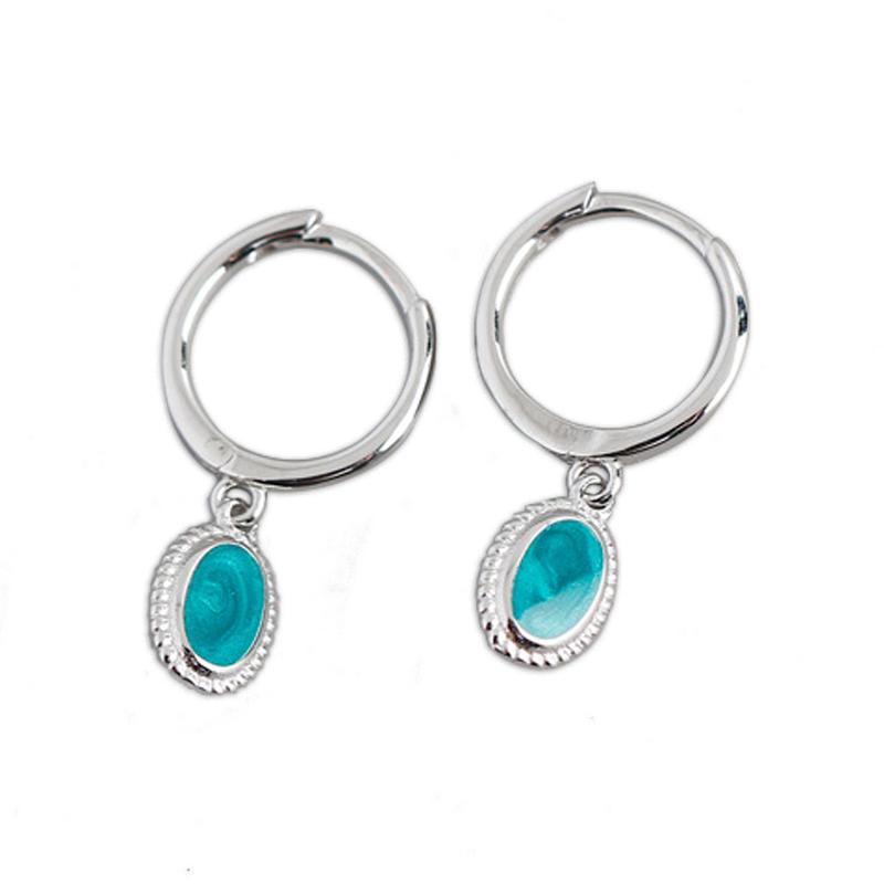 New Light Luxury Starry Sky Green Enamel S925 Sterling Silver Ear Buckle Earrings Custom