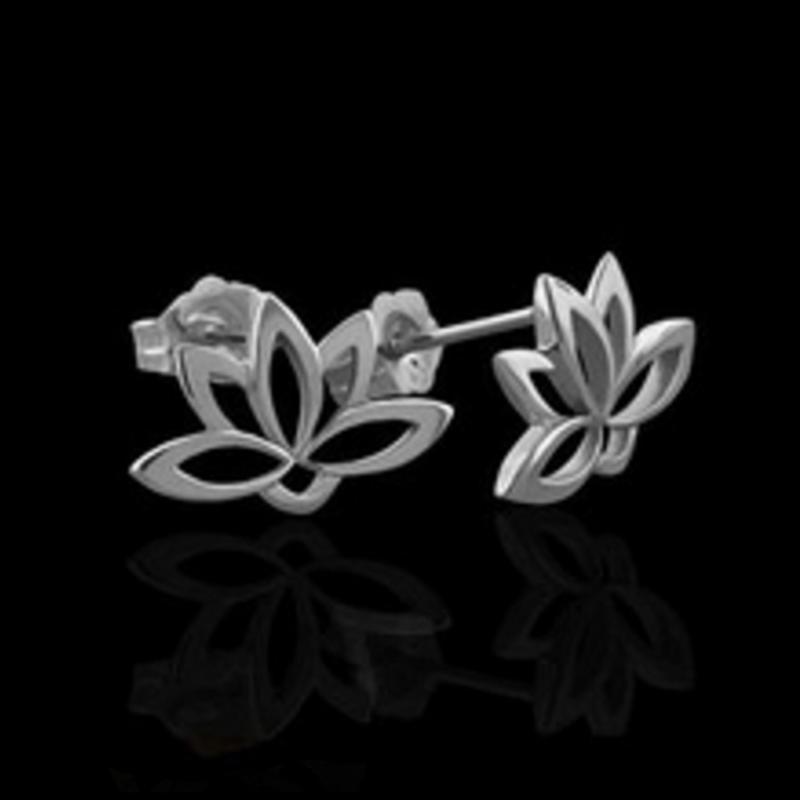 Wholesale simple lotus flower genuine 925 sterling silver earring