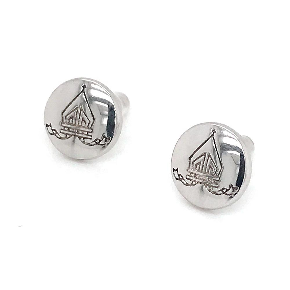 Silver Clown Coin Earrings, Engraved Clown Face Earrings For Men