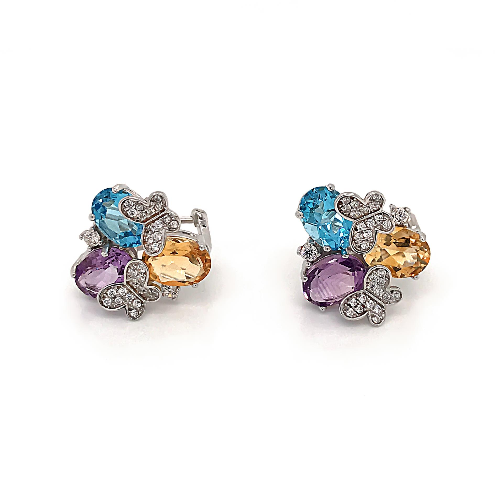 Trendy Butterfly Design Three Color Big Stone Flower Earrings