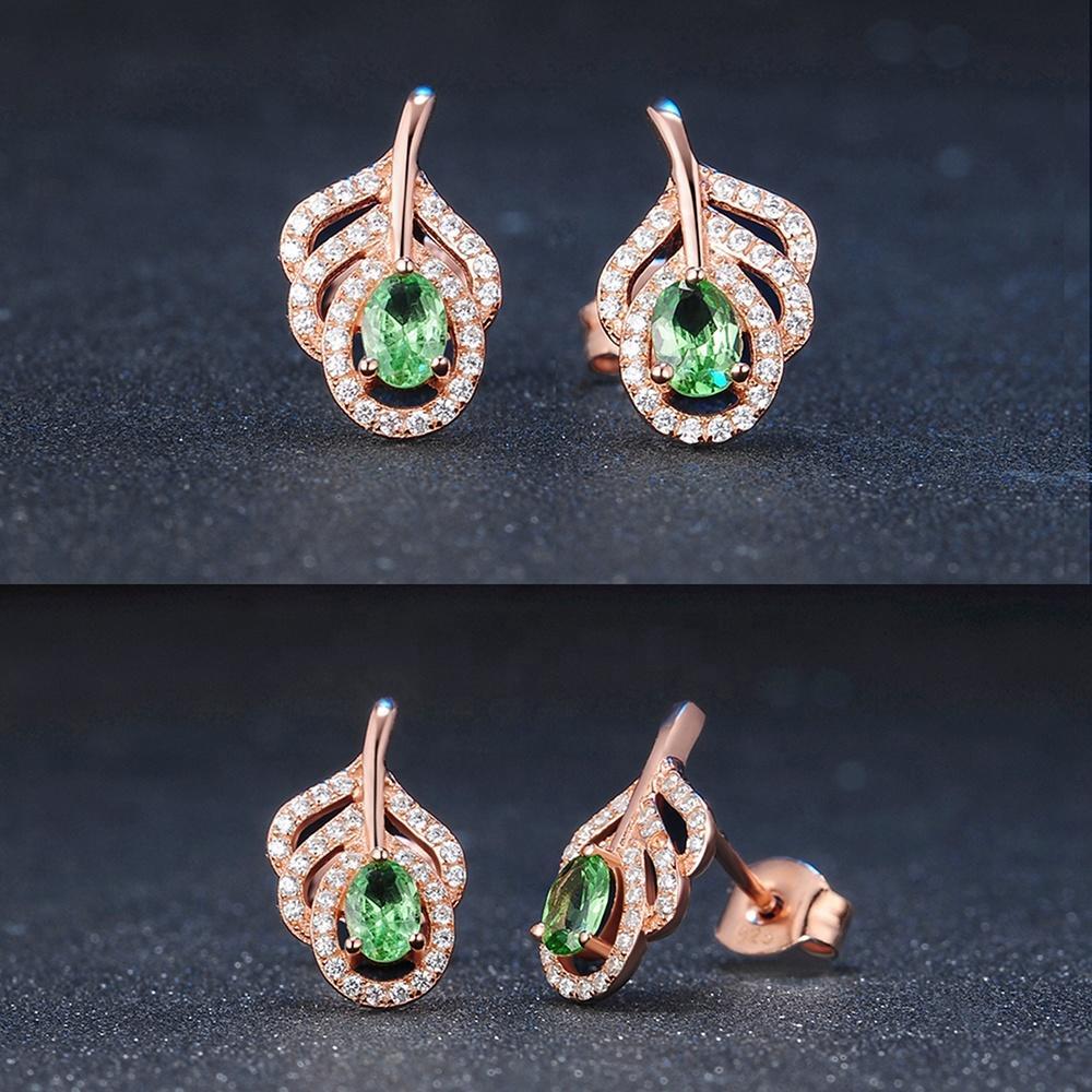 2020 New Trendy Peacock Feather Design Peridot Silver Emerald Green Earrings