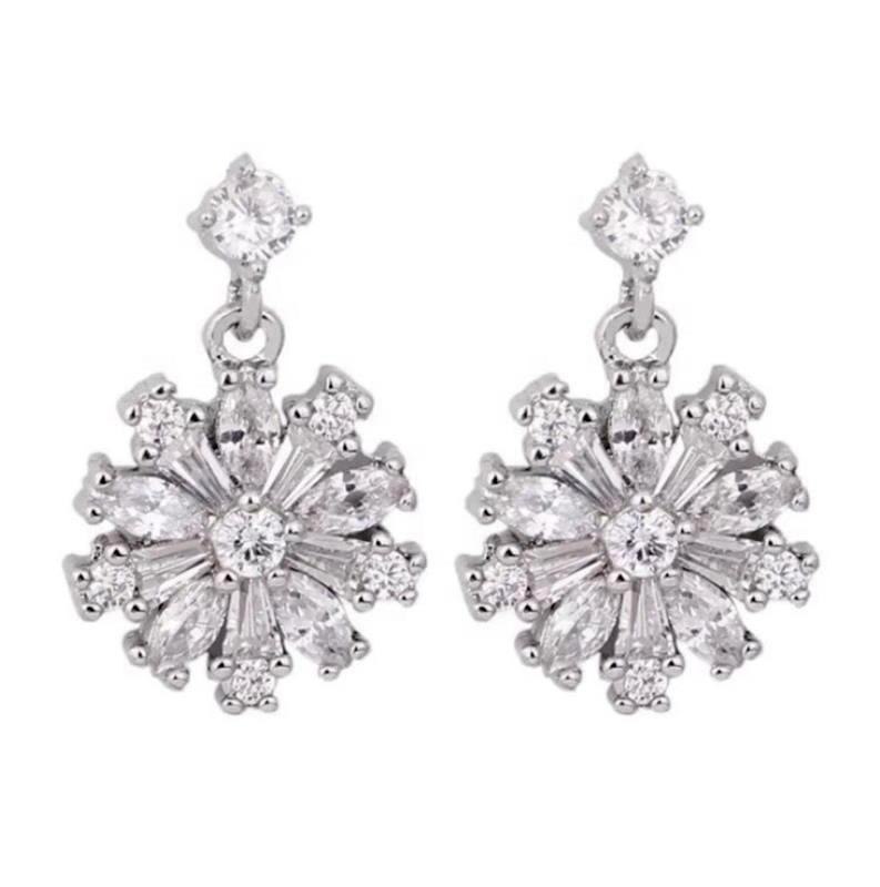 925 Sterling Silver Jewelry Diamond Snowflake Stud Earrings