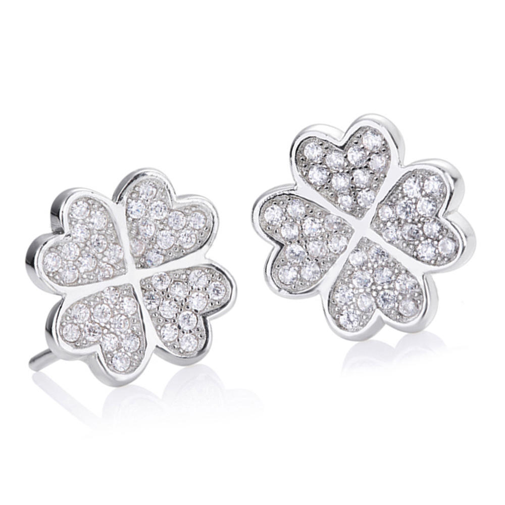 925 Silver Earrings, Heart Design Four-Leaf Clover Stud Earrings