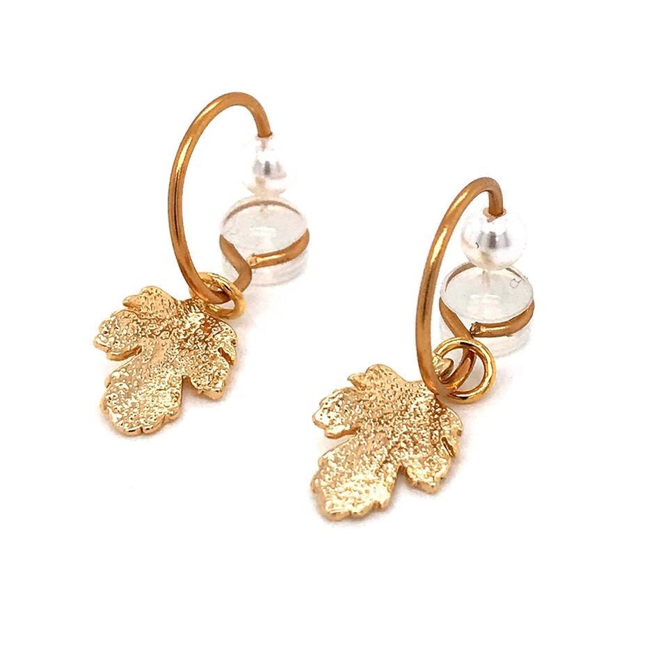 Ladies Vintage Copper Gold Plated Pearl Leaf Earrings Bohemian Jewelry