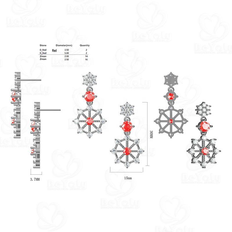 Beyaly OEM & ODM Custom Jewelry Two Color Cz Christmas Snowflake Earrings
