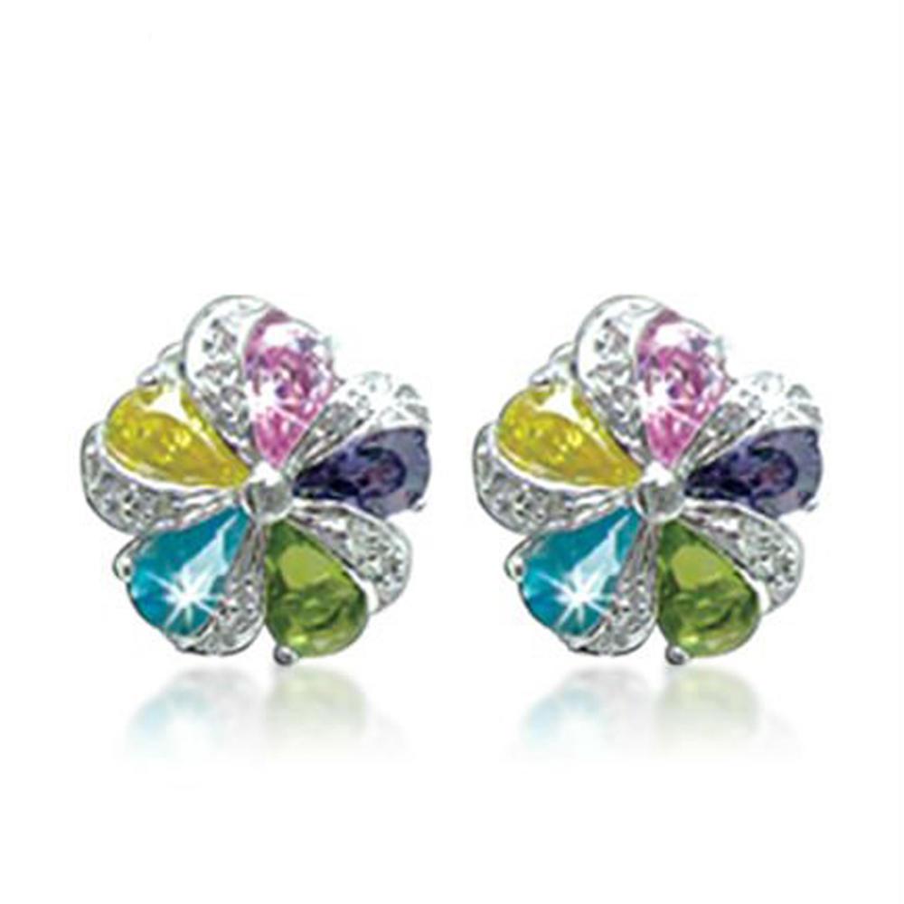 Brilliant flower engraved beauty cubic zirconia stud earrings 12mm