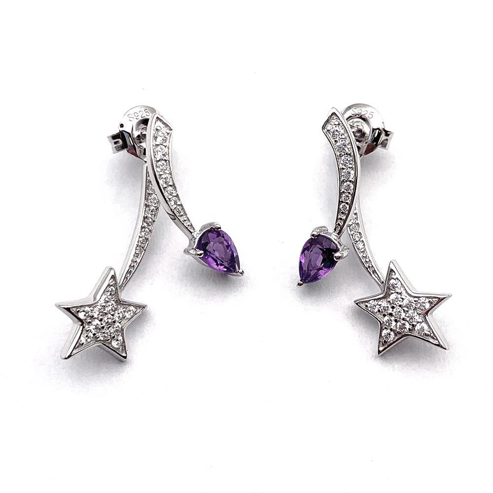 Adjustable Purple Water Drop Zircon 925 Silver Star Design Earrings