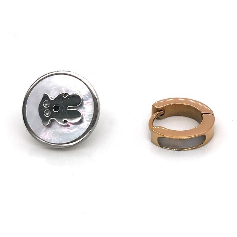 Asymmetrical Stainless Steel Earrings, Bear Stud Earring, Rose Gold Hoop Earring