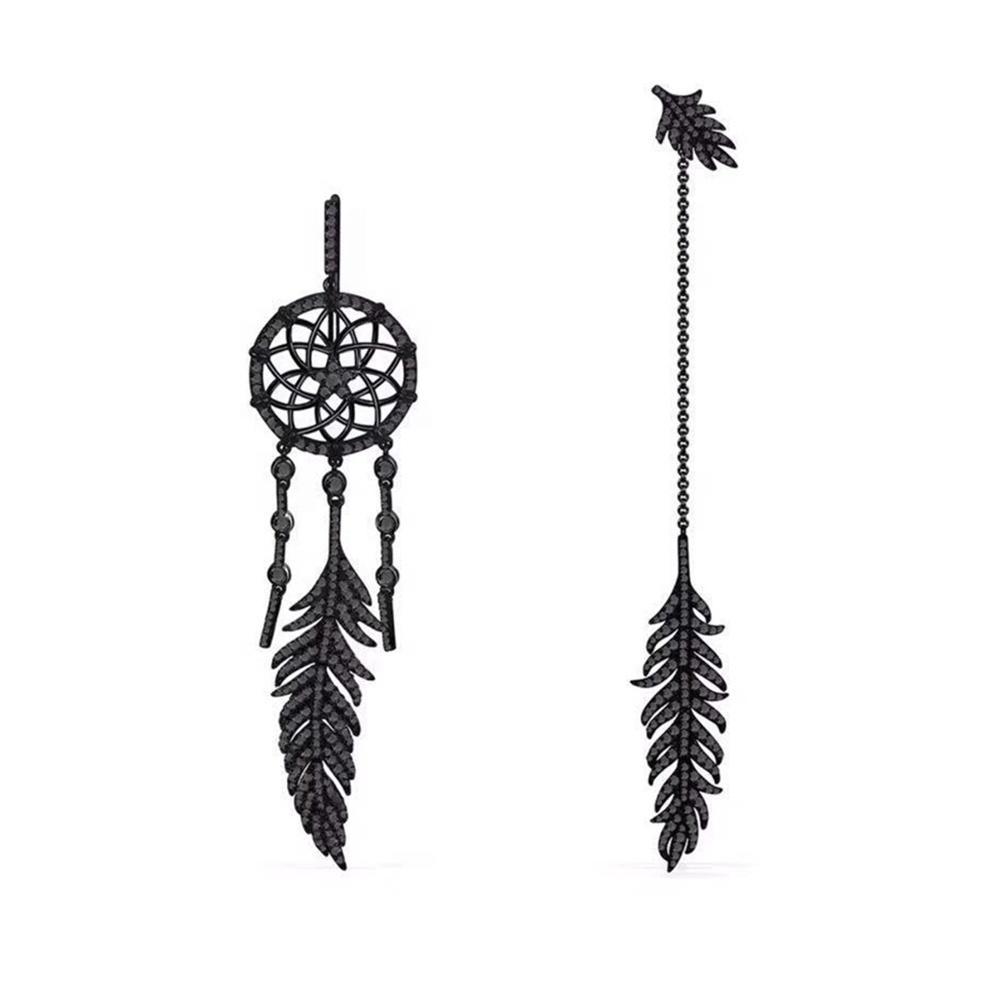 Feather Design Black Cz Earring Findings, Personality Asymmetrical Dream Catcher Earrings