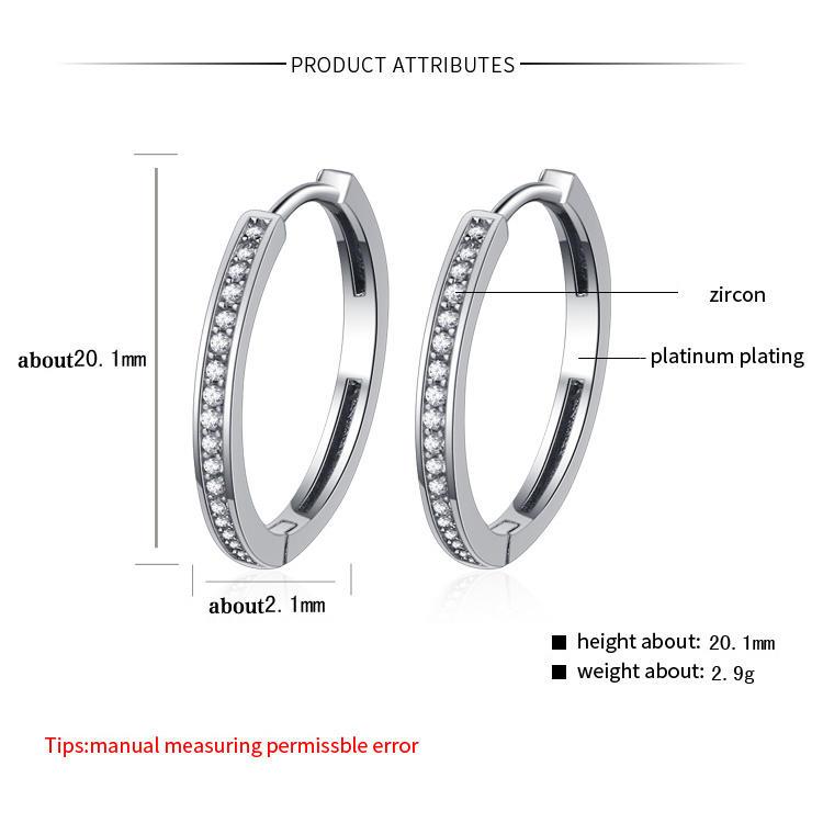 Cheap Fashion Cz 925 Sterling Silver Earring Hoop Geometric Big Ring Ear