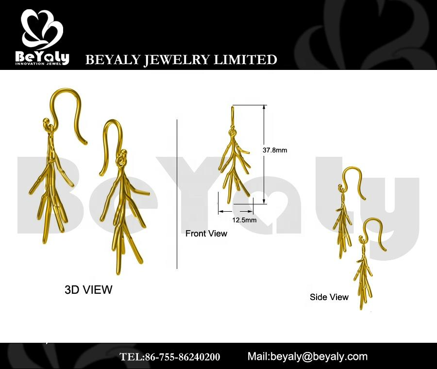 Beyaly OEM & ODM Custom Imitation Handmade Tree Branch Drop Hook Earrings