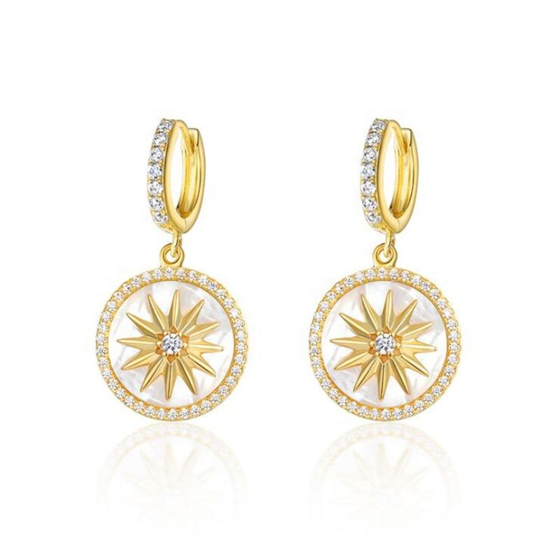 S925 Silver Eight Awn Star Earrings Jewelry, Custom White Shell Ins Gold Plated Jewelry Coin Earrings