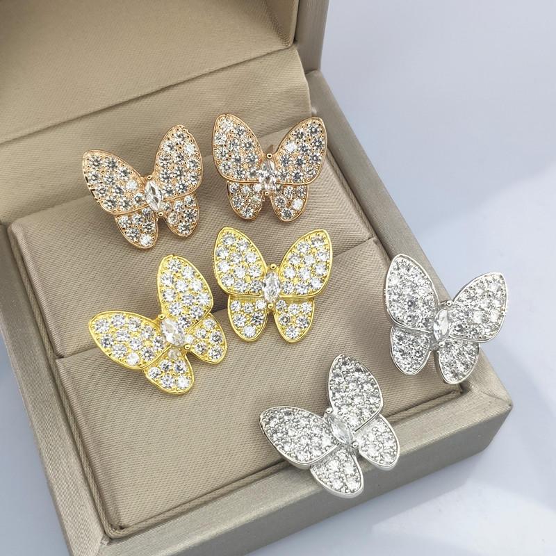 Brilliant Multi Crystal Fully Studded Butterfly Earrings For Women