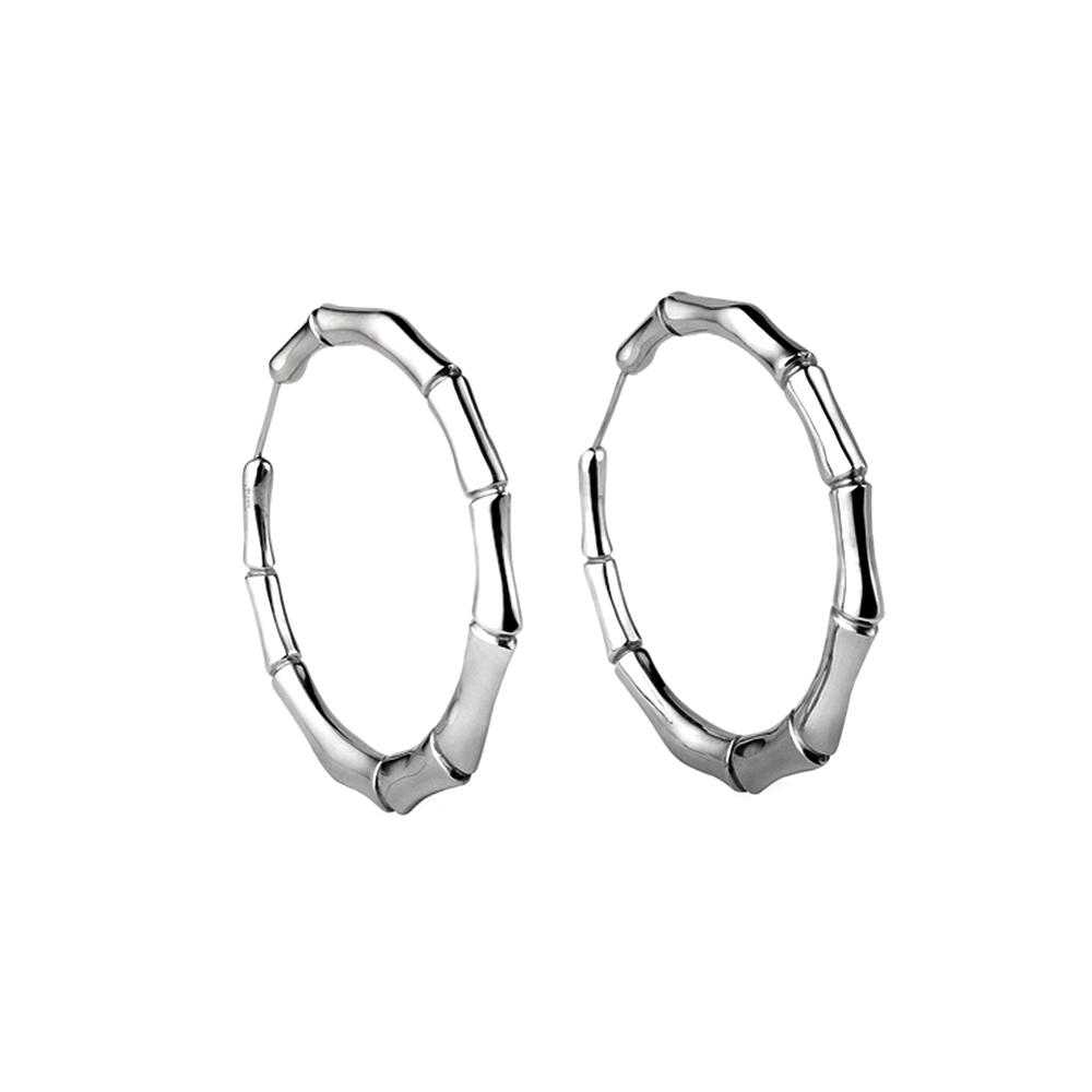 Shiny silver hoop cheap bamboo earrings